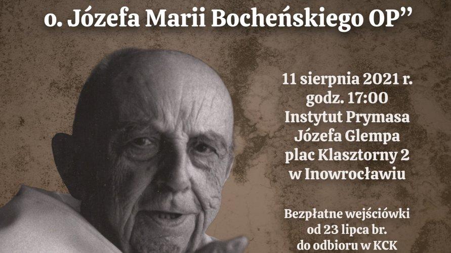 Zdjęcie przedstawia p. Bocheńskiego i informację o dniu prelekcji - 11 sierpnia o godz. 17 w Instytucie Prymasa Glempa.